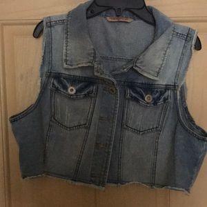 Cropped Light washed Denim Vest